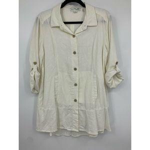 Simply Noelle blouse medium linen peplum Lagenlook